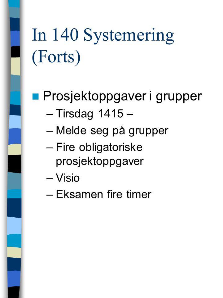 In 140 Systemering (Forts) Prosjektoppgaver i grupper –Tirsdag 1415 – –Melde seg på grupper –Fire obligatoriske prosjektoppgaver –Visio –Eksamen fire timer