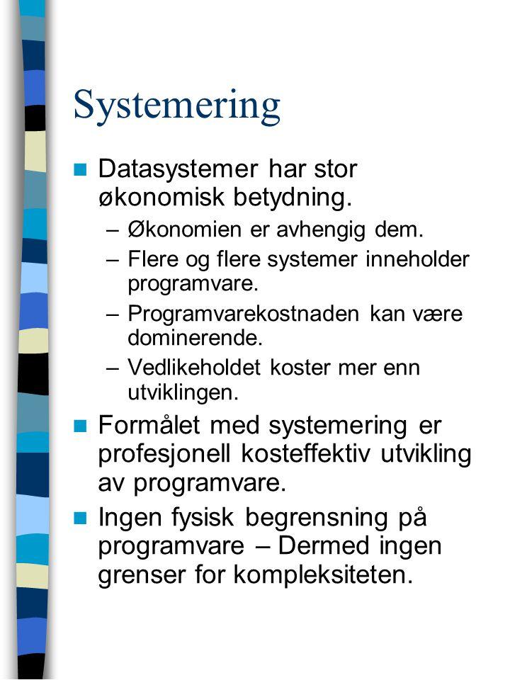 Systemering Datasystemer har stor økonomisk betydning.