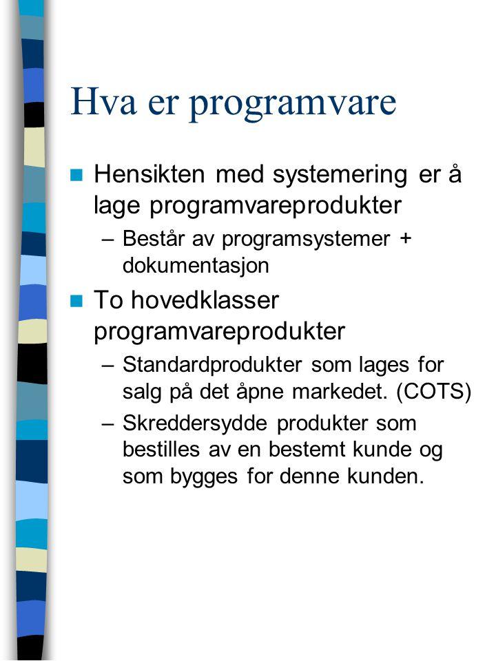 Hva er programvare Hensikten med systemering er å lage programvareprodukter –Består av programsystemer + dokumentasjon To hovedklasser programvareprodukter –Standardprodukter som lages for salg på det åpne markedet.