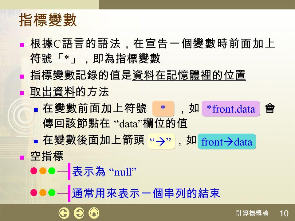 """計算機概論 10 指標變數 根據 C 語言的語法,在宣告一個變數時前面加上 符號「 * 」,即為指標變數 指標變數記錄的值是資料在記憶體裡的位置 取出資料的方法 在變數前面加上符號 ,如 會 傳回該節點在 """"data"""" 欄位的值 在變數後面加上箭頭 ,如 空指標 * """""""""""""""" *front.da"""