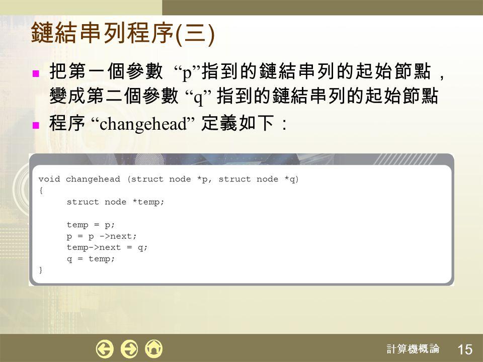"""計算機概論 15 鏈結串列程序 ( 三 ) 把第一個參數 """"p"""" 指到的鏈結串列的起始節點, 變成第二個參數 """"q"""" 指到的鏈結串列的起始節點 程序 """"changehead"""" 定義如下:"""