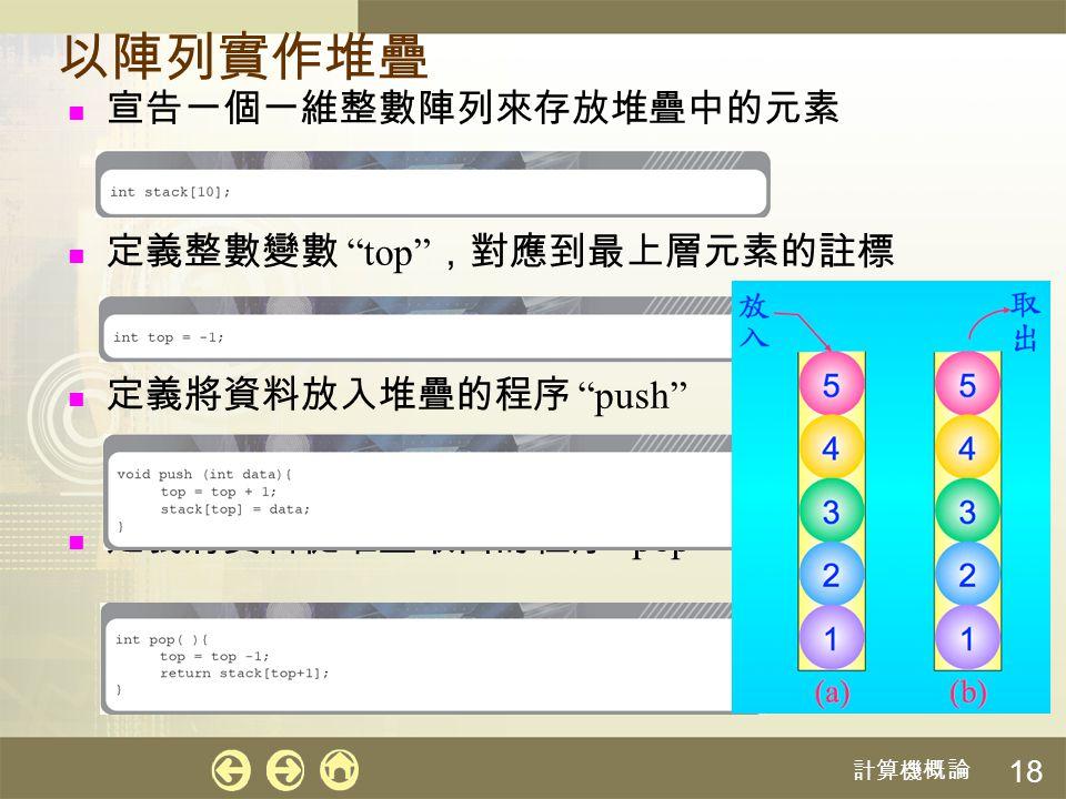 """計算機概論 18 以陣列實作堆疊 宣告一個一維整數陣列來存放堆疊中的元素 定義整數變數 """"top"""" ,對應到最上層元素的註標 定義將資料放入堆疊的程序 """"push"""" 定義將資料從堆疊取出的程序 """"pop"""""""