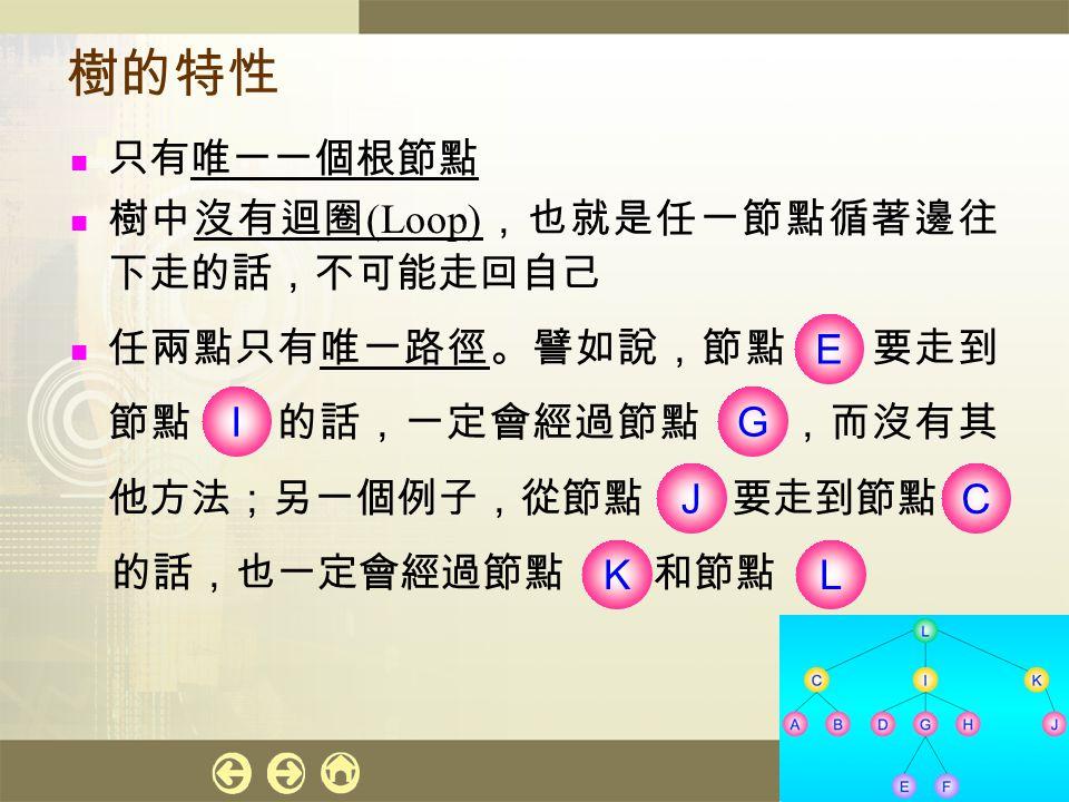 計算機概論 27 樹的特性 只有唯一一個根節點 樹中沒有迴圈 (Loop) ,也就是任一節點循著邊往 下走的話,不可能走回自己 任兩點只有唯一路徑。譬如說,節點 要走到 節點 的話,一定會經過節點 ,而沒有其 他方法;另一個例子,從節點 要走到節點 的話,也一定會經過節點 和節點 I E G C J