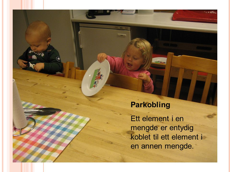 Parkobling Ett element i en mengde er entydig koblet til ett element i en annen mengde.