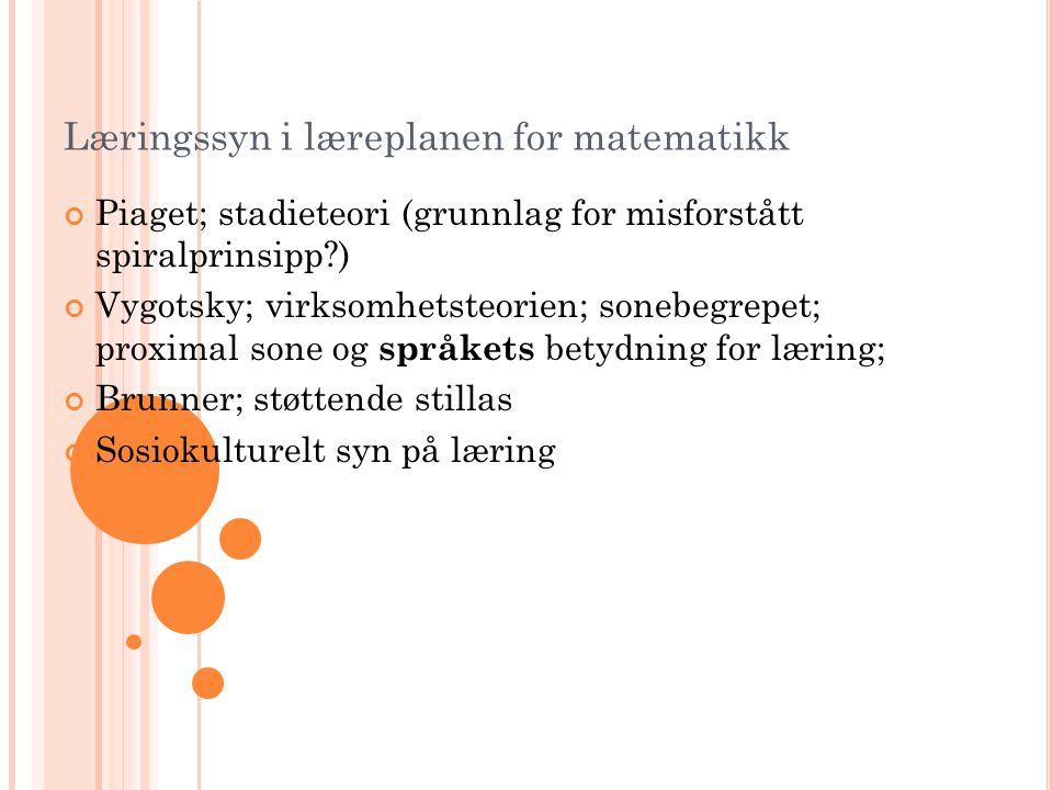 Læringssyn i læreplanen for matematikk Piaget; stadieteori (grunnlag for misforstått spiralprinsipp?) Vygotsky; virksomhetsteorien; sonebegrepet; prox