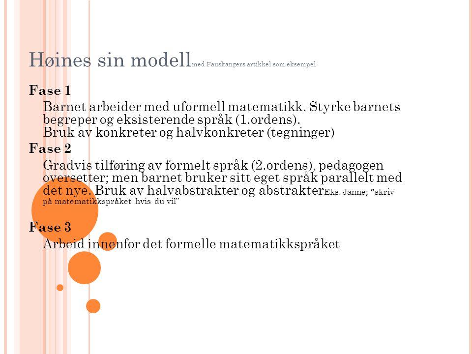 Høines sin modell med Fauskangers artikkel som eksempel Fase 1 Barnet arbeider med uformell matematikk. Styrke barnets begreper og eksisterende språk