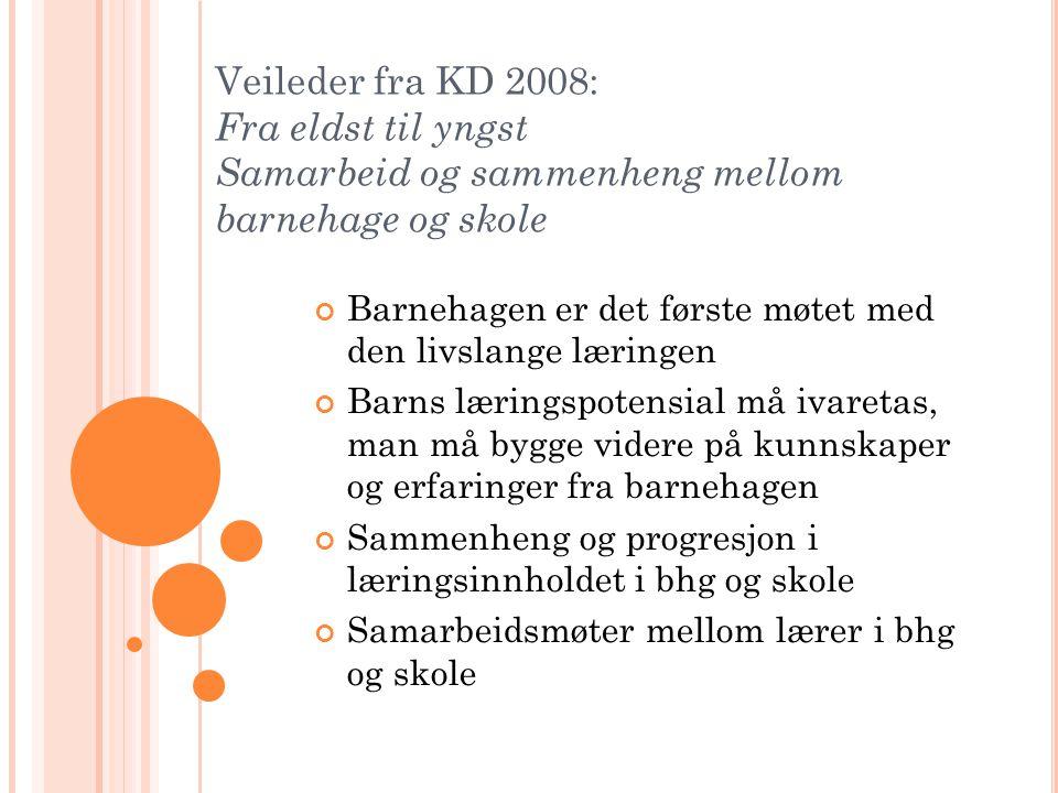 Veileder fra KD 2008: Fra eldst til yngst Samarbeid og sammenheng mellom barnehage og skole Barnehagen er det første møtet med den livslange læringen