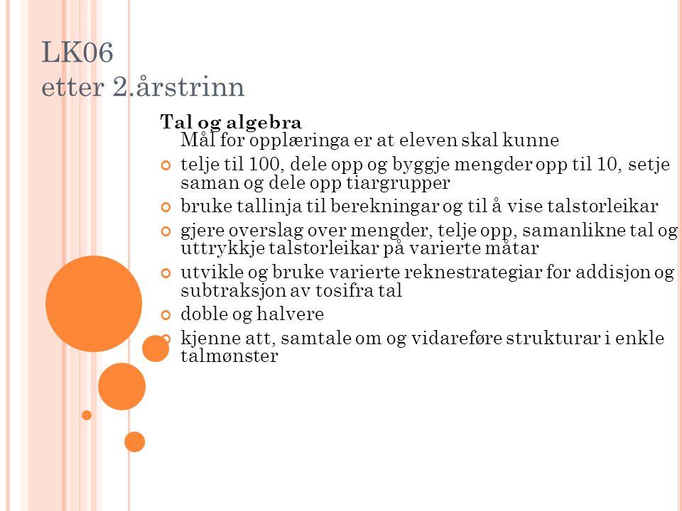 LK06 etter 2.årstrinn Tal og algebra Mål for opplæringa er at eleven skal kunne telje til 100, dele opp og byggje mengder opp til 10, setje saman og d