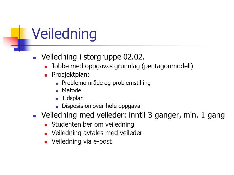 Veiledning Veiledning i storgruppe 02.02. Jobbe med oppgavas grunnlag (pentagonmodell) Prosjektplan: Problemområde og problemstilling Metode Tidsplan