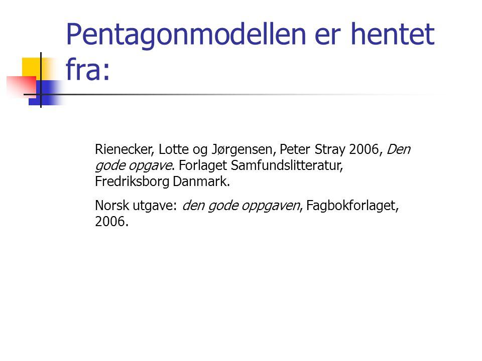 Rienecker, Lotte og Jørgensen, Peter Stray 2006, Den gode opgave. Forlaget Samfundslitteratur, Fredriksborg Danmark. Norsk utgave: den gode oppgaven,