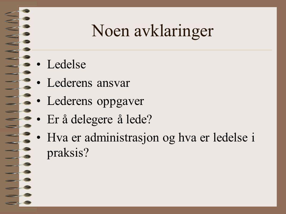 Noen avklaringer Ledelse Lederens ansvar Lederens oppgaver Er å delegere å lede? Hva er administrasjon og hva er ledelse i praksis?
