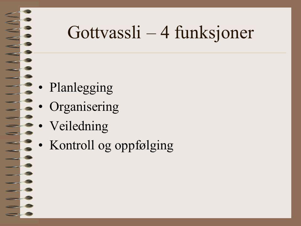 Gottvassli – 4 funksjoner Planlegging Organisering Veiledning Kontroll og oppfølging