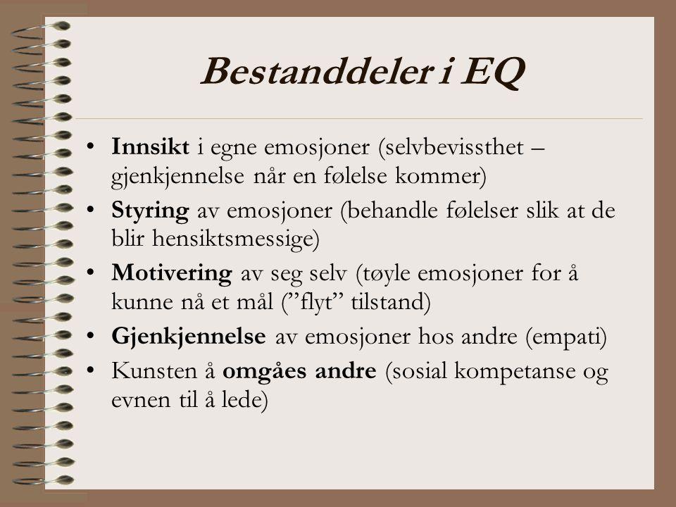 Bestanddeler i EQ Innsikt i egne emosjoner (selvbevissthet – gjenkjennelse når en følelse kommer) Styring av emosjoner (behandle følelser slik at de b