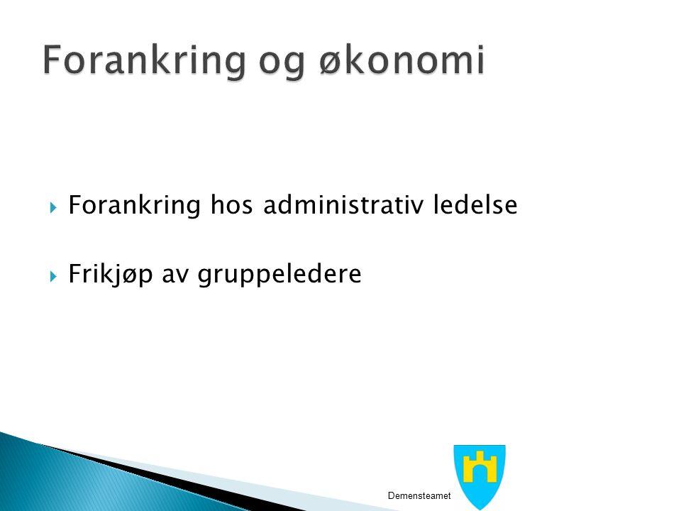  Forankring hos administrativ ledelse  Frikjøp av gruppeledere Demensteamet i Sortland