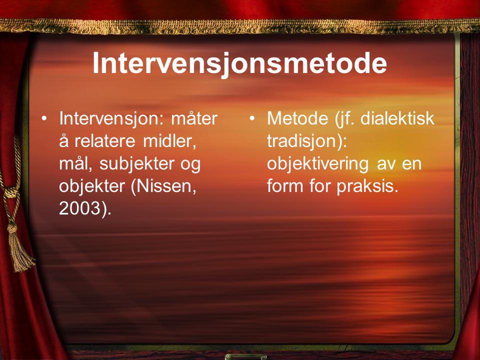 Intervensjonsmetode Intervensjon: måter å relatere midler, mål, subjekter og objekter (Nissen, 2003). Metode (jf. dialektisk tradisjon): objektivering
