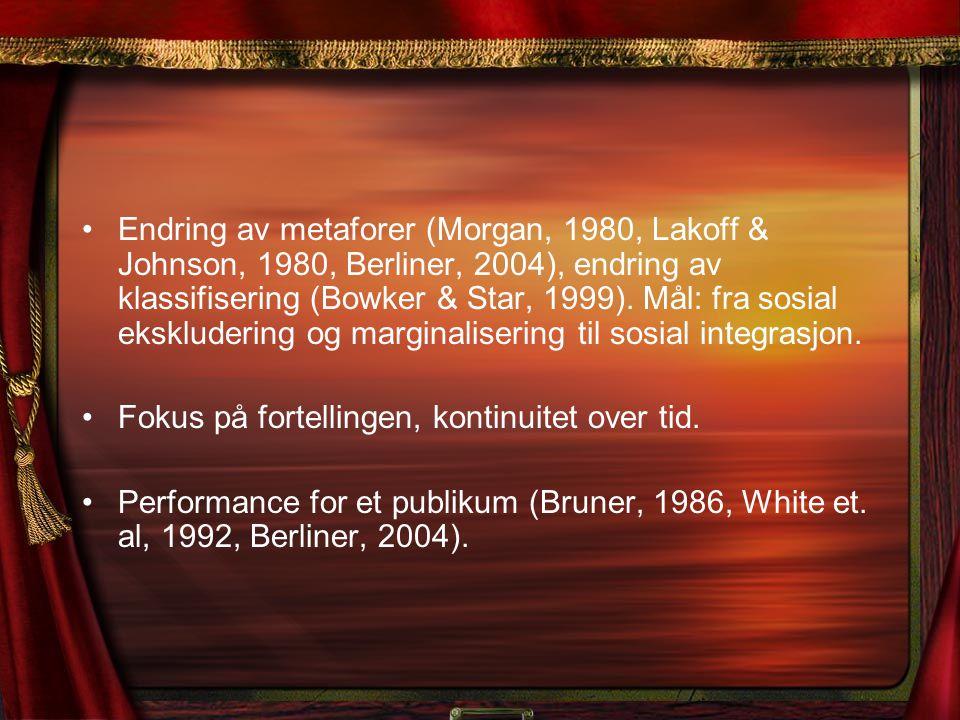 Endring av metaforer (Morgan, 1980, Lakoff & Johnson, 1980, Berliner, 2004), endring av klassifisering (Bowker & Star, 1999). Mål: fra sosial eksklude
