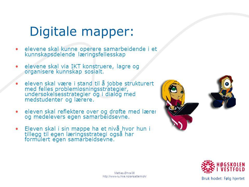 Mattias Øhra 08 http://www-lu.hive.no/ansatte/moh/ Digitale mapper: elevene skal kunne operere samarbeidende i et kunnskapsdelende læringsfellesskap elevene skal via IKT konstruere, lagre og organisere kunnskap sosialt.