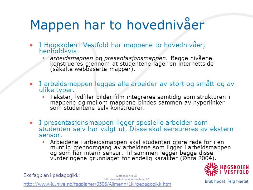Mattias Øhra 08 http://www-lu.hive.no/ansatte/moh/ Mappen har to hovednivåer I Høgskolen i Vestfold har mappene to hovednivåer; henholdsvis  arbeidsmappen og presentasjonsmappen.