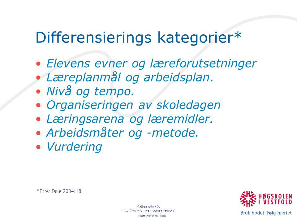 Mattias Øhra 08 http://www-lu.hive.no/ansatte/moh/ Differensierings kategorier* Elevens evner og læreforutsetninger Læreplanmål og arbeidsplan.