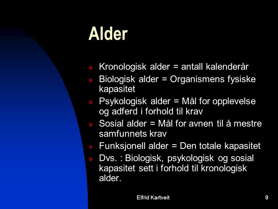 Elfrid Kartveit9 Alder Kronologisk alder = antall kalenderår Biologisk alder = Organismens fysiske kapasitet Psykologisk alder = Mål for opplevelse og adferd i forhold til krav Sosial alder = Mål for avnen til å mestre samfunnets krav Funksjonell alder = Den totale kapasitet Dvs.