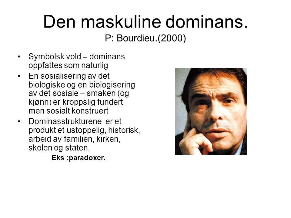 Den maskuline dominans. P: Bourdieu.(2000) Symbolsk vold – dominans oppfattes som naturlig En sosialisering av det biologiske og en biologisering av d