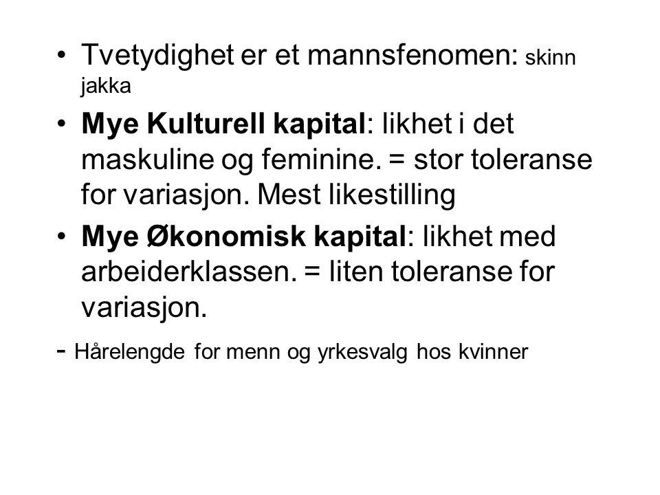 Tvetydighet er et mannsfenomen: skinn jakka Mye Kulturell kapital: likhet i det maskuline og feminine. = stor toleranse for variasjon. Mest likestilli