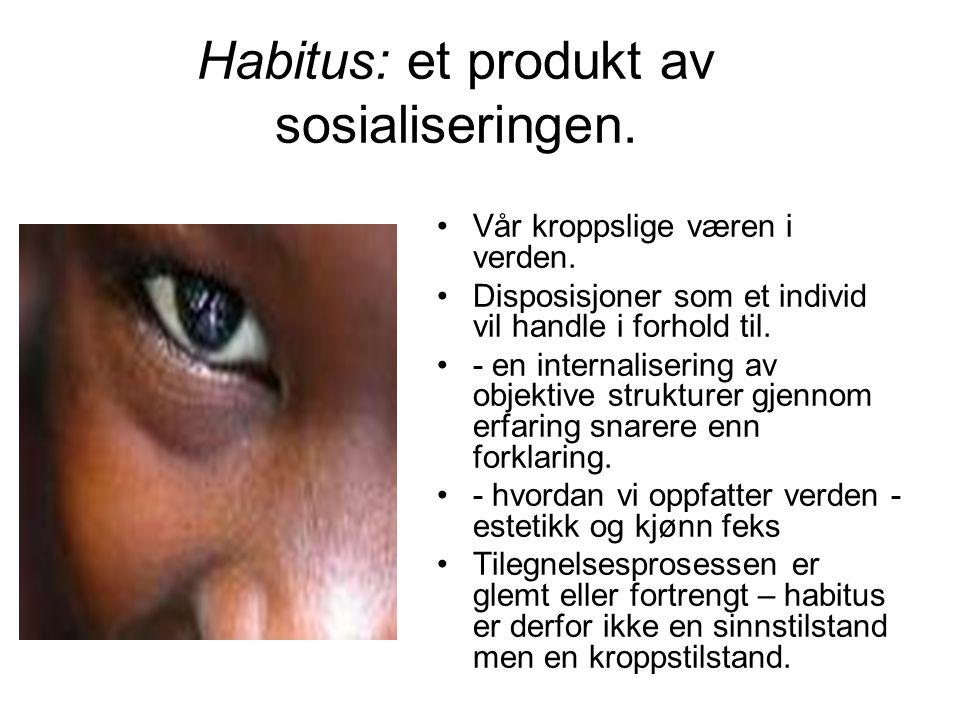 Habitus: et produkt av sosialiseringen. Vår kroppslige væren i verden. Disposisjoner som et individ vil handle i forhold til. - en internalisering av