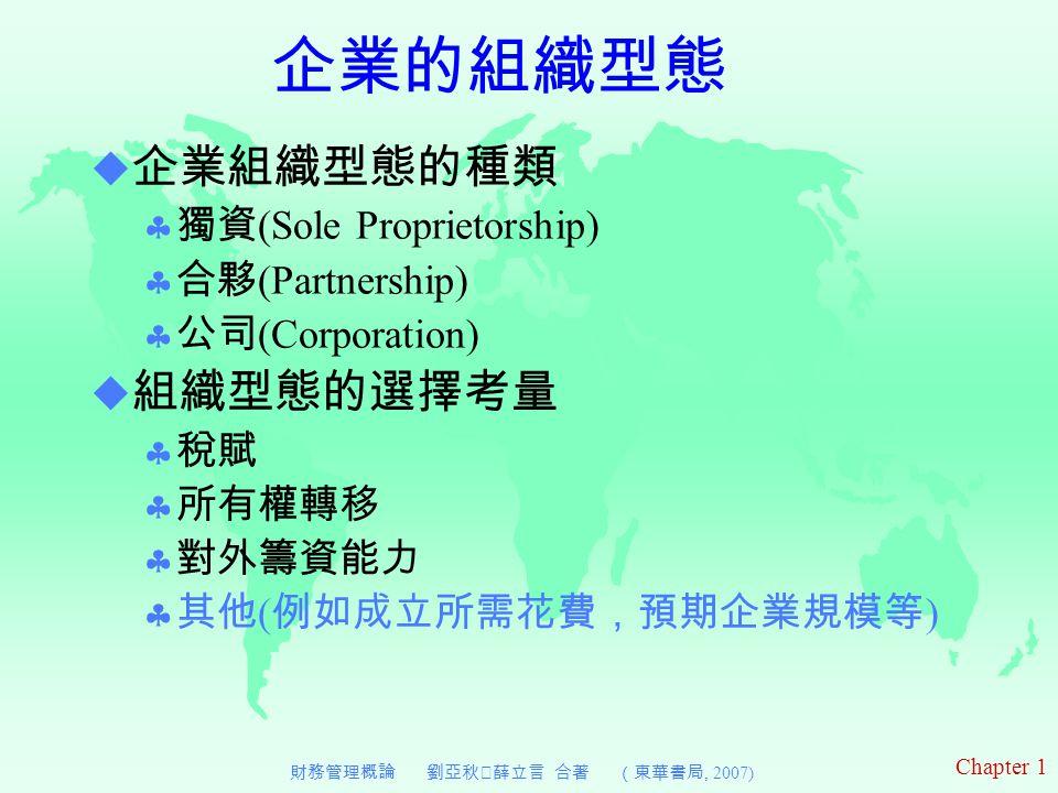Chapter 1 財務管理概論 劉亞秋‧薛立言 合著 (東華書局, 2007) 企業的組織型態  企業組織型態的種類  獨資 (Sole Proprietorship)  合夥 (Partnership)  公司 (Corporation)  組織型態的選擇考量  稅賦  所有權轉移  對外籌資能力  其他 ( 例如成立所需花費,預期企業規模等 )