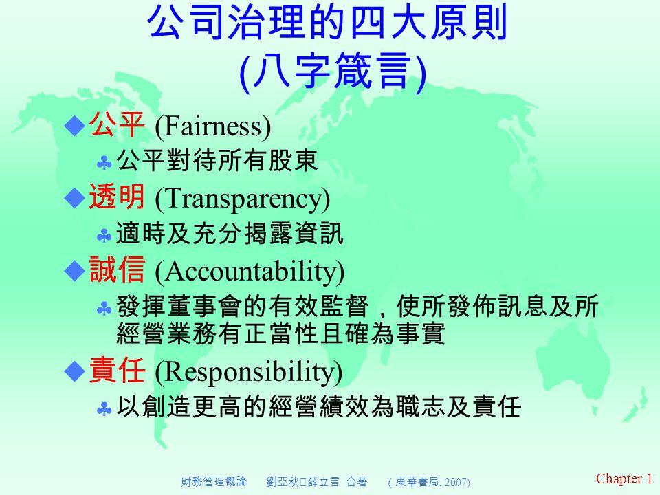 Chapter 1 財務管理概論 劉亞秋‧薛立言 合著 (東華書局, 2007)  公平 (Fairness)  公平對待所有股東  透明 (Transparency)  適時及充分揭露資訊  誠信 (Accountability)  發揮董事會的有效監督,使所發佈訊息及所 經營業務有正當性且確為事實  責任 (Responsibility)  以創造更高的經營績效為職志及責任 公司治理的四大原則 ( 八字箴言 )