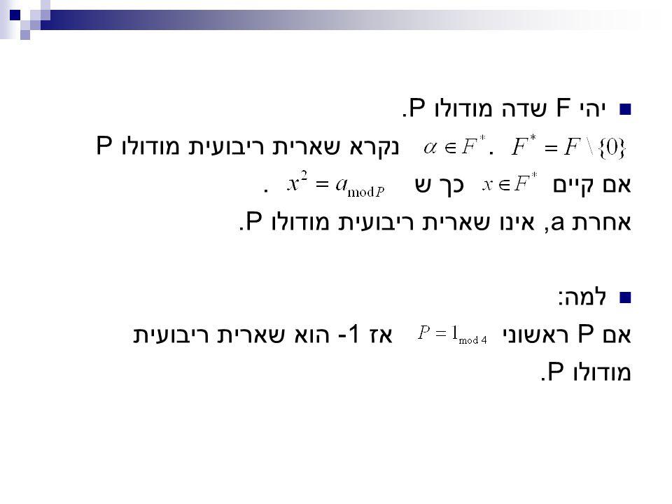 יהי F שדה מודולו P.. נקרא שארית ריבועית מודולו P אם קיים כך ש. אחרת a, אינו שארית ריבועית מודולו P. למה: אם P ראשוני אז 1- הוא שארית ריבועית מודולו P.