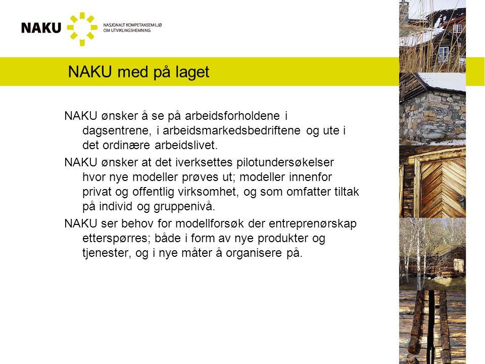 NAKU med på laget NAKU ønsker å se på arbeidsforholdene i dagsentrene, i arbeidsmarkedsbedriftene og ute i det ordinære arbeidslivet.