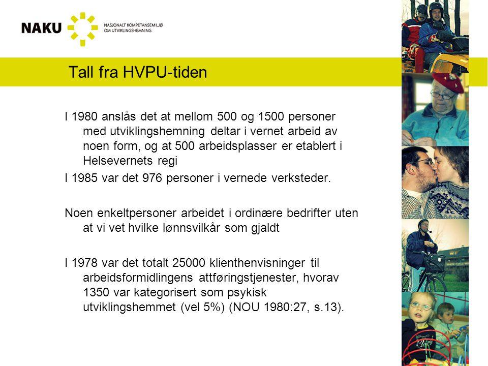 Referanser NOU 1980:27 Arbeid for psykisk utviklingshemmede NOU 1985:34 Levekår for psykisk utviklingshemmede St.meld.nr 39 (1991 – 92) Attføring og arbeid for yrkeshemmede.