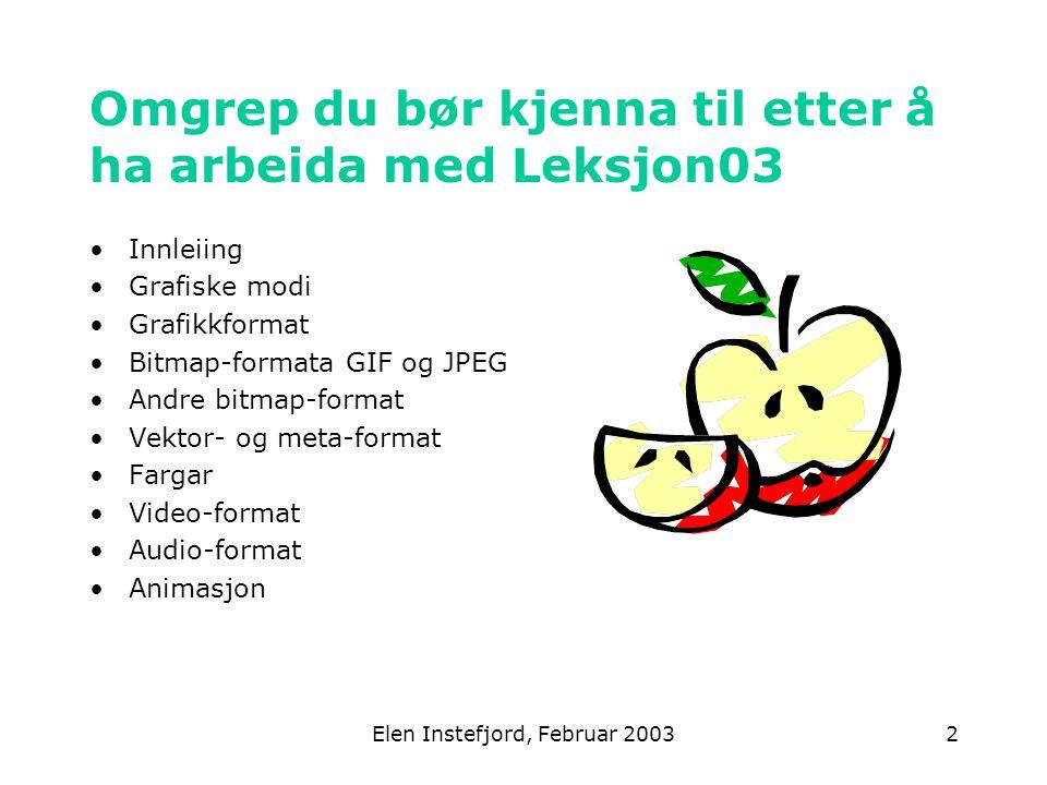 Elen Instefjord, Februar 20032 Omgrep du bør kjenna til etter å ha arbeida med Leksjon03 Innleiing Grafiske modi Grafikkformat Bitmap-formata GIF og JPEG Andre bitmap-format Vektor- og meta-format Fargar Video-format Audio-format Animasjon