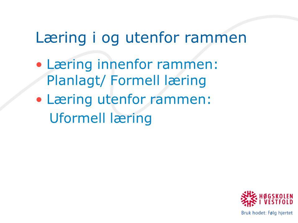 Læring i og utenfor rammen Læring innenfor rammen: Planlagt/ Formell læring Læring utenfor rammen: Uformell læring