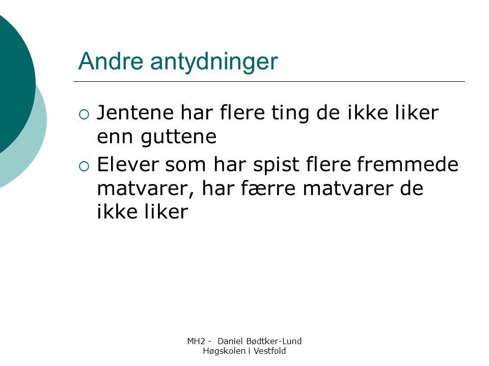 MH2 - Daniel Bødtker-Lund Høgskolen i Vestfold Andre antydninger  Jentene har flere ting de ikke liker enn guttene  Elever som har spist flere fremm
