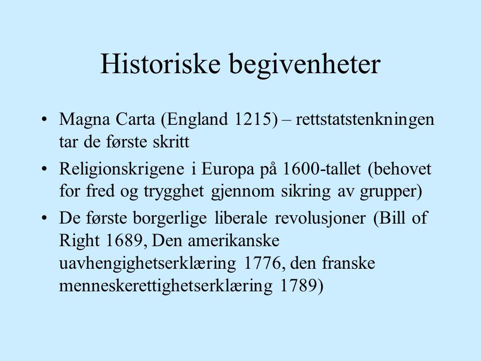 Historiske begivenheter Magna Carta (England 1215) – rettstatstenkningen tar de første skritt Religionskrigene i Europa på 1600-tallet (behovet for fred og trygghet gjennom sikring av grupper) De første borgerlige liberale revolusjoner (Bill of Right 1689, Den amerikanske uavhengighetserklæring 1776, den franske menneskerettighetserklæring 1789)