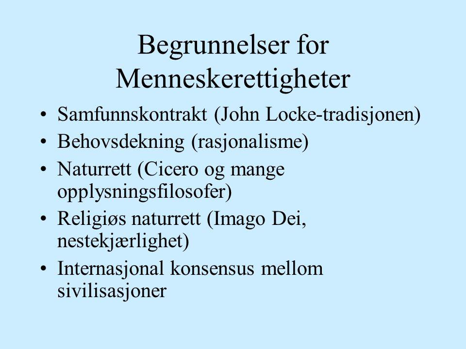 Begrunnelser for Menneskerettigheter Samfunnskontrakt (John Locke-tradisjonen) Behovsdekning (rasjonalisme) Naturrett (Cicero og mange opplysningsfilosofer) Religiøs naturrett (Imago Dei, nestekjærlighet) Internasjonal konsensus mellom sivilisasjoner