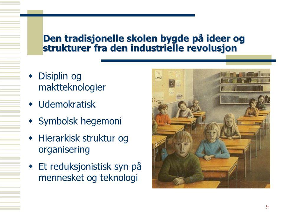 10 Pedagogikken i den tradisjonelle skolen har vært preget av:  Rette svar  Pensumstyrt  Individuelt arbeid  Lærerstyrt undervisning  Pedagogikk basert på gjengivelse av kunnskap