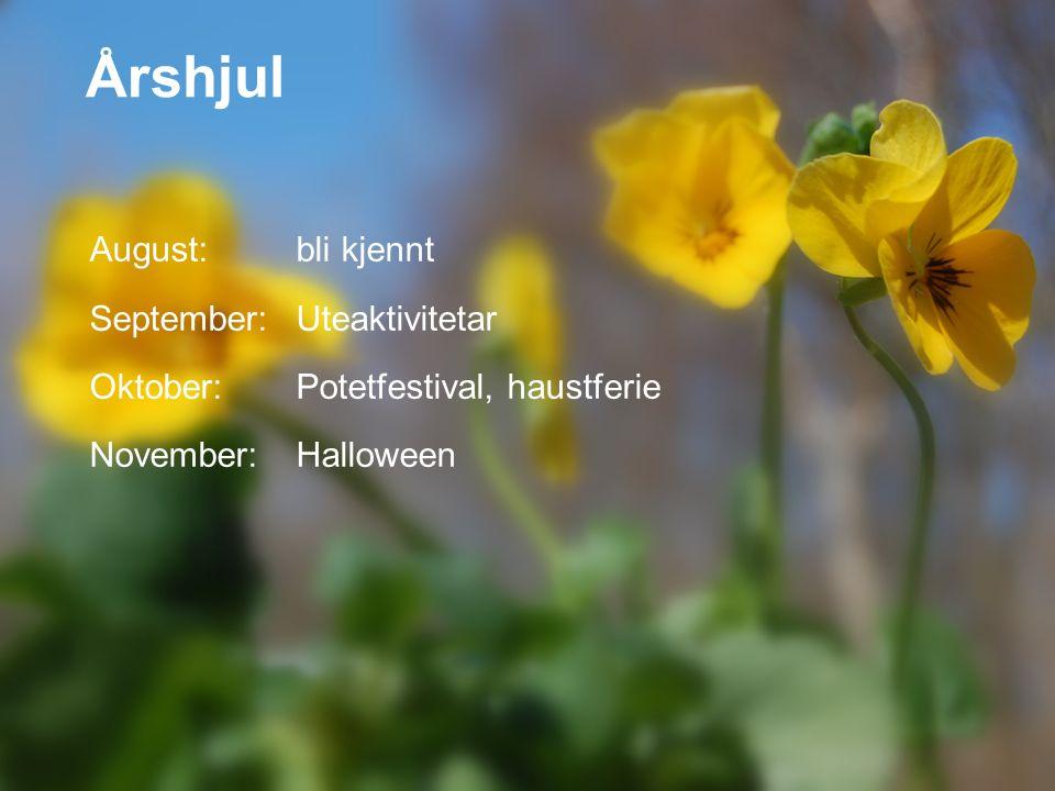 Årshjul August: bli kjennt September:Uteaktivitetar Oktober:Potetfestival, haustferie November:Halloween
