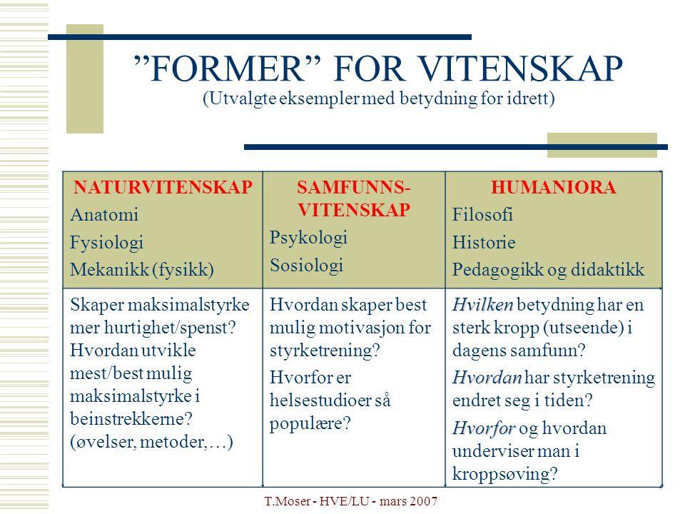 """T.Moser - HVE/LU - mars 2007 """"FORMER"""" FOR VITENSKAP (Utvalgte eksempler med betydning for idrett) NATURVITENSKAP Anatomi Fysiologi Mekanikk (fysikk) S"""