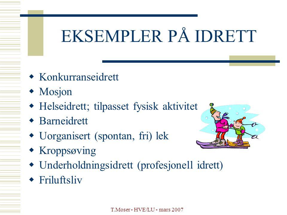 T.Moser - HVE/LU - mars 2007 EKSEMPLER PÅ IDRETT  Konkurranseidrett  Mosjon  Helseidrett; tilpasset fysisk aktivitet  Barneidrett  Uorganisert (s