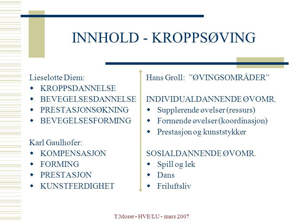 T.Moser - HVE/LU - mars 2007 INNHOLD - KROPPSØVING Lieselotte Diem:  KROPPSDANNELSE  BEVEGELSESDANNELSE  PRESTASJONSØKNING  BEVEGELSESFORMING Karl