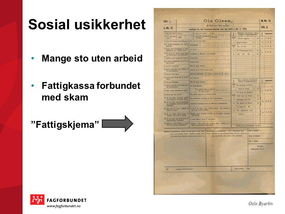 Sosial usikkerhet Mange sto uten arbeid Fattigkassa forbundet med skam Fattigskjema Oslo Byarkiv