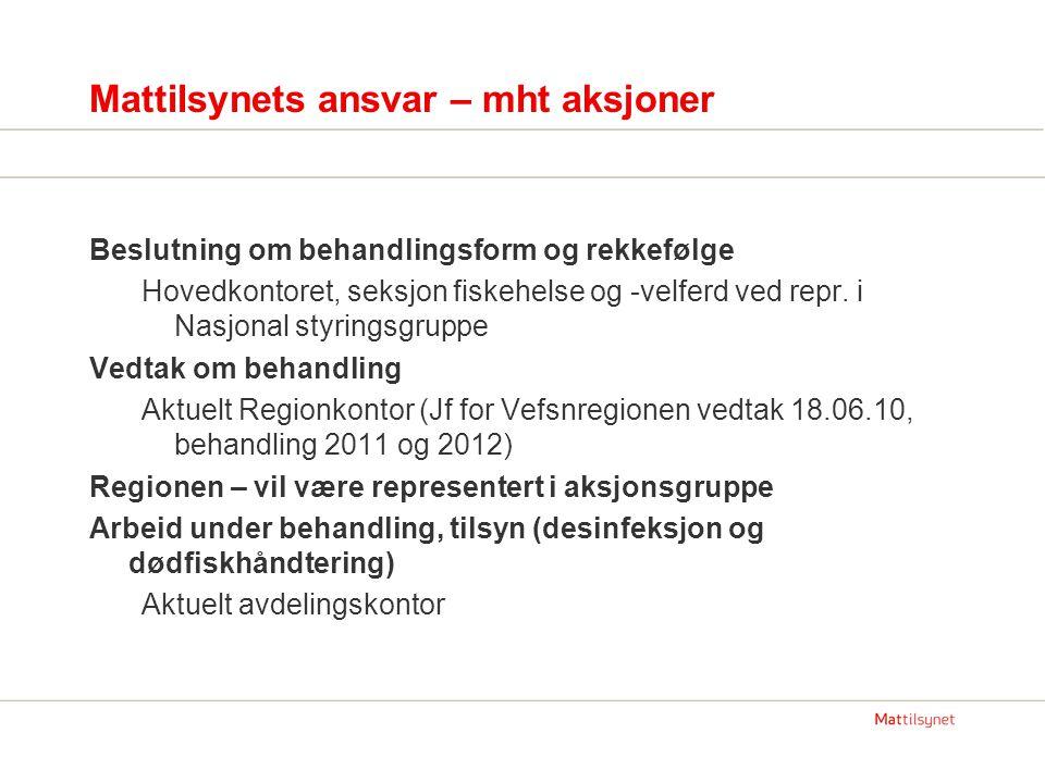 Mattilsynets ansvar – mht aksjoner Beslutning om behandlingsform og rekkefølge Hovedkontoret, seksjon fiskehelse og -velferd ved repr.