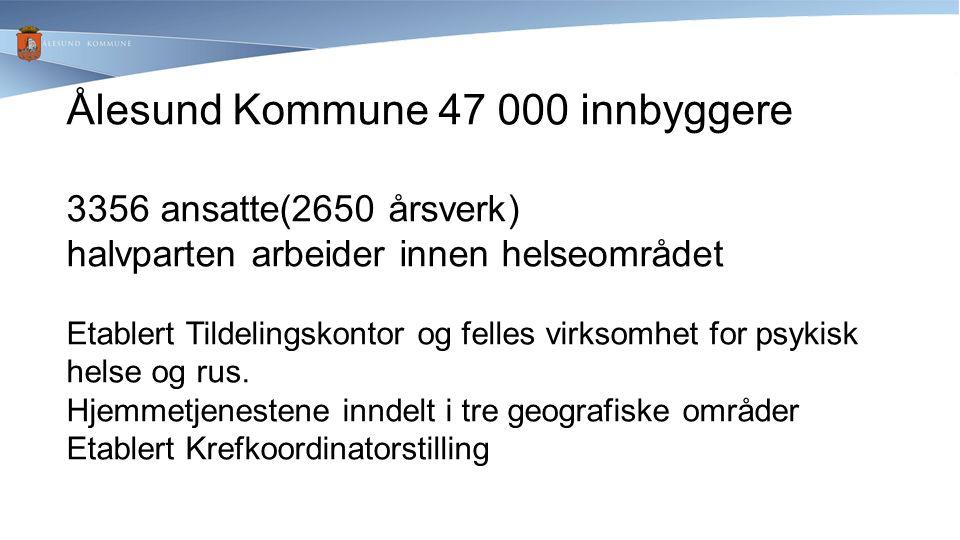Ålesund Kommune 47 000 innbyggere 3356 ansatte(2650 årsverk) halvparten arbeider innen helseområdet Etablert Tildelingskontor og felles virksomhet for