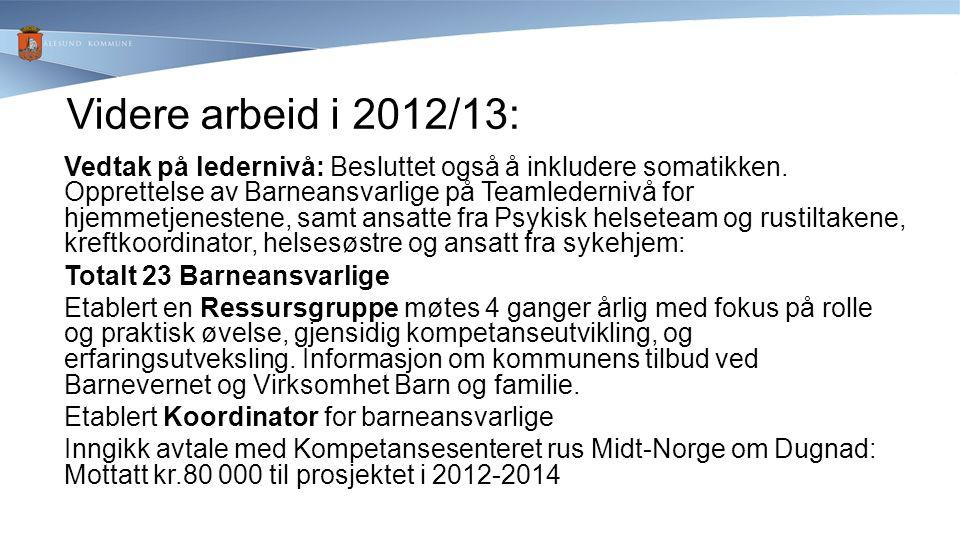 Videre arbeid i 2012/13: Vedtak på ledernivå: Besluttet også å inkludere somatikken. Opprettelse av Barneansvarlige på Teamledernivå for hjemmetjenest