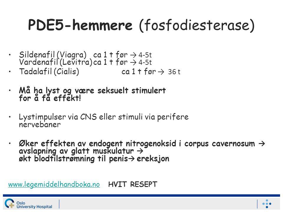 PDE5-hemmere (fosfodiesterase) Sildenafil (Viagra)ca 1 t før → 4-5t Vardenafil (Levitra)ca 1 t før → 4-5t Tadalafil (Cialis)ca 1 t før → 36 t Må ha lyst og være seksuelt stimulert for å få effekt.
