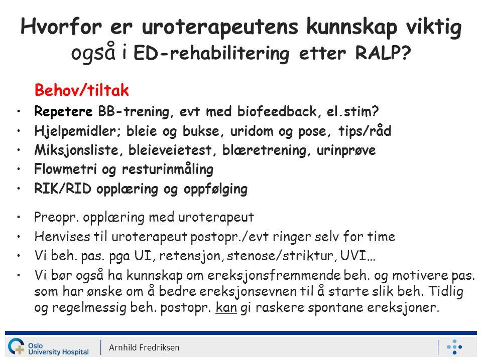 Hvorfor er uroterapeutens kunnskap viktig også i ED-rehabilitering etter RALP.
