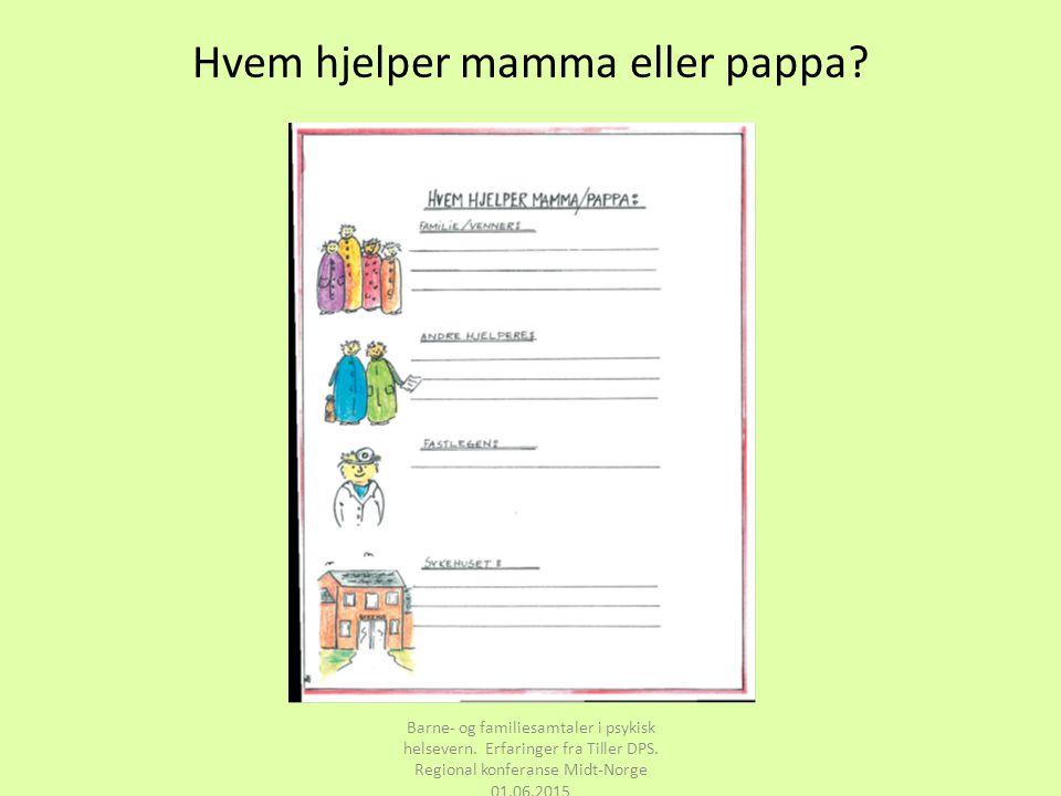 Hvem hjelper mamma eller pappa? Barne- og familiesamtaler i psykisk helsevern. Erfaringer fra Tiller DPS. Regional konferanse Midt-Norge 01.06.2015