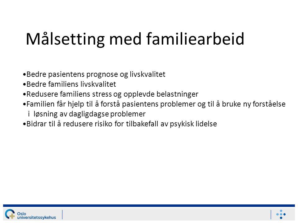 Målsetting med familiearbeid Bedre pasientens prognose og livskvalitet Bedre familiens livskvalitet Redusere familiens stress og opplevde belastninger